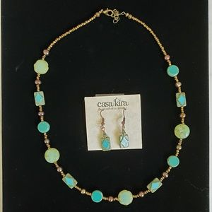Handcrafted Necklace & Earrings Set NWOT